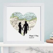 Silhouette Couple Vintage Map in Box Frame